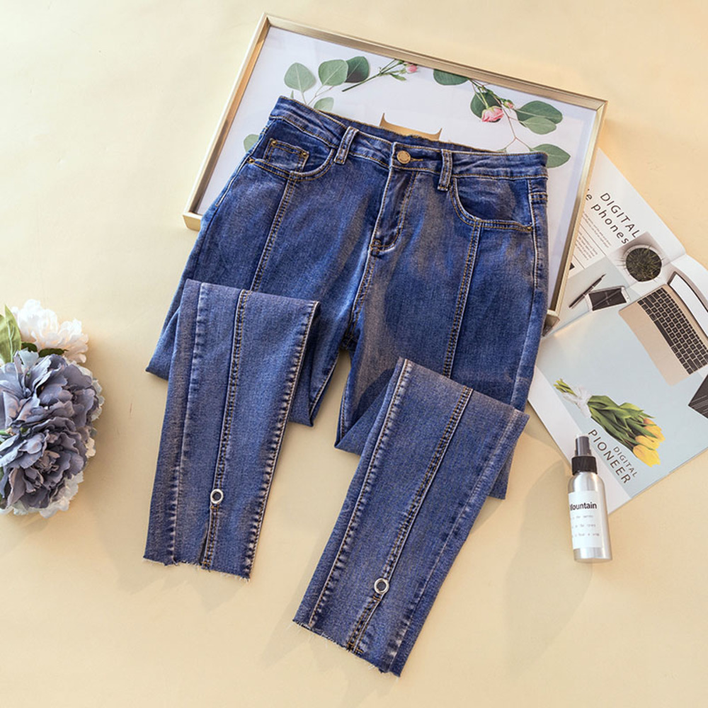 2020 New Spring Women High Waist Jeans Fashion Ladies Elastic Stretch Jeans Boyfriend Washed Denim Pencil Pants Plus Size 4XL