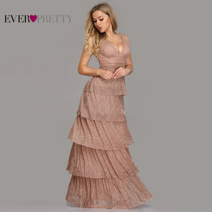 Image 2 - Robe De Soiree Ever Pretty Sexy V neck A line Sleeveless Ruffles Evening Dresses Long 2020 New Arrival Wedding Guest Party Gowns