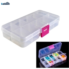 10 Grids Adjustable Transparent Plastic Storage Box for Small Component Jewelry Tool Box Bead Pills Organizer Nail Art Tip Case недорого
