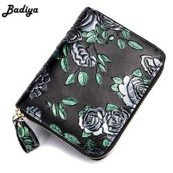 Винтажный женский маленький короткий кошелек из натуральной кожи с розами, кошелек на молнии, держатель для кредитных карт, роскошный женск...