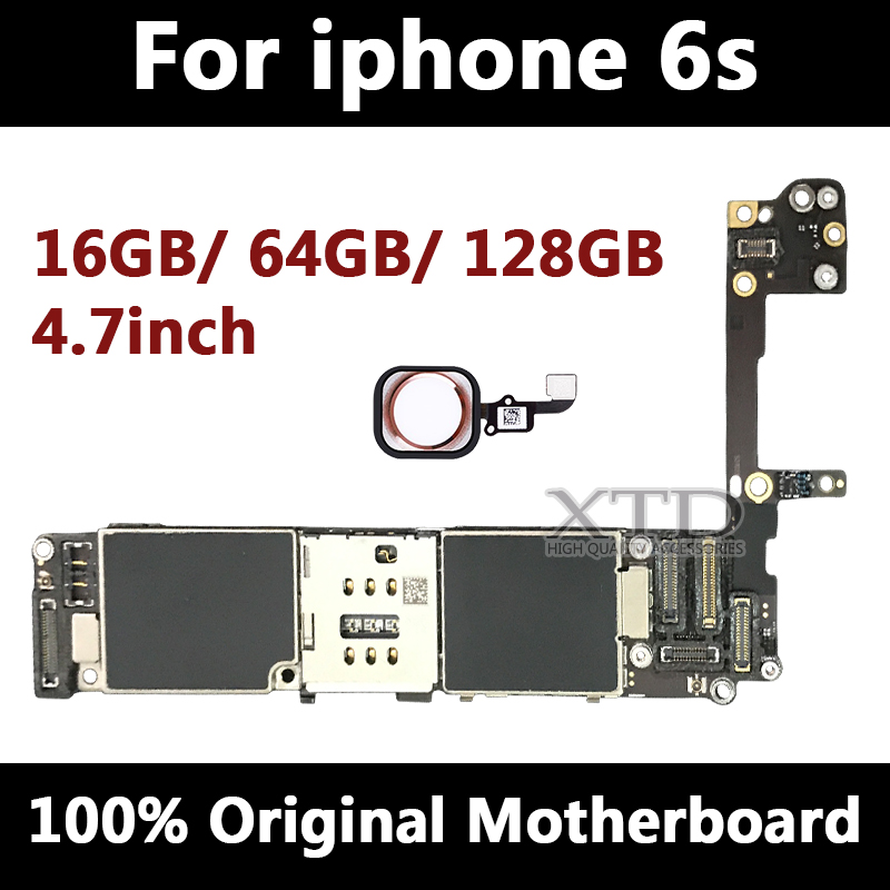 For iPhone 6s Motherboard With Touch ID 100% Original Unlocked Logic Boards For iPhone6s Mainboard 4.7 inch 16g/64g/128g