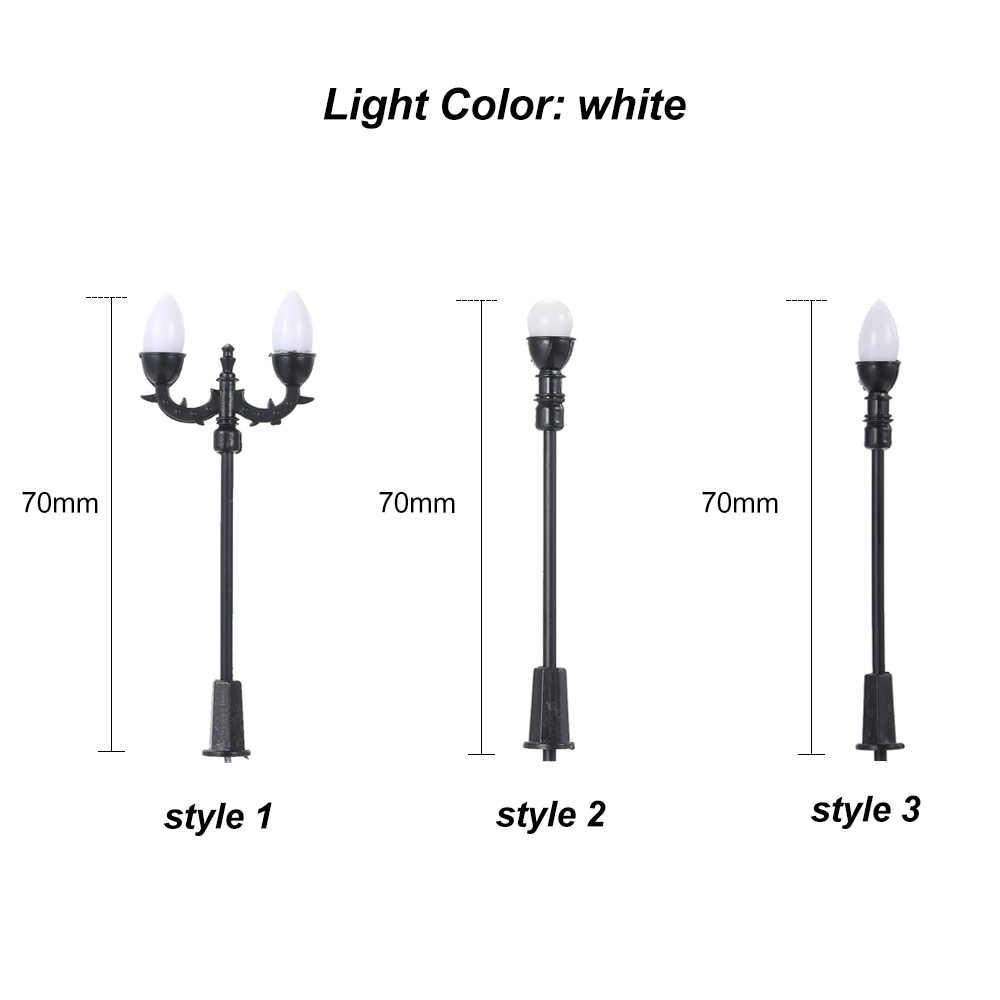 Nowy 20 szt biały Model uliczne układ latarni kolejowy pociąg ogród plac zabaw dekoracje oświetlenie Led lampy 1:100 skala 70mm