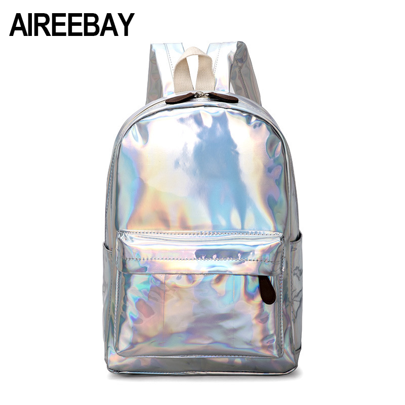 AIREEBAY Female Holographic Backpack Women Soft Laser PU Leather Travel Backpacks Silver Hologram School Bags For Teenager Girls