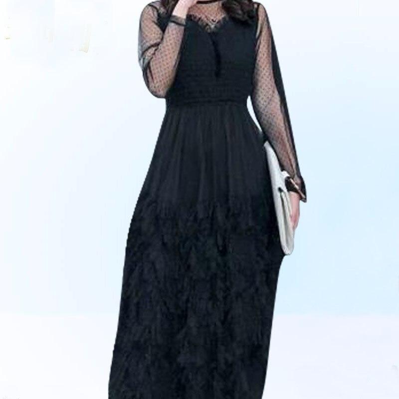 A Femme Élégant Dentelle Longues De Lady Cou Pour K578 Black Robe O Moulante Solide ligne À Fête 2019 Noir Manches Mode wx6OqCCv
