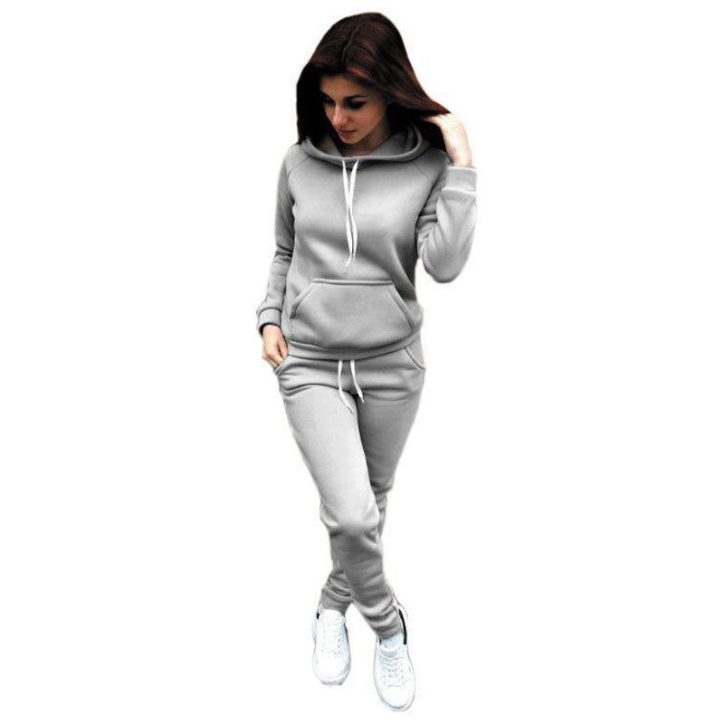 Women Hoodies Sport Tops Pants Sweatshirt Sweat Suit Jogging Set Winter Pockets Casual Loungewear Tracksuit Sportswear Clothing