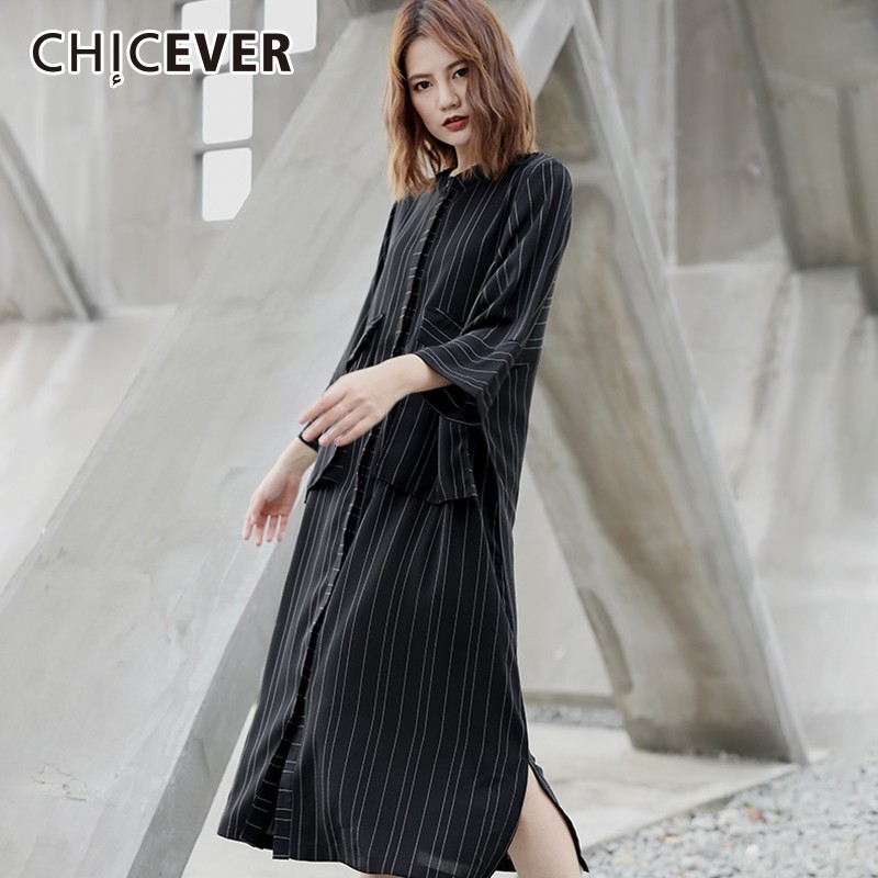 CHICEVER Spring   Trench   Coats For Women O Neck Three Quarter Sleeve Loose Oversize Patchwork Striped Windbreaker Fashion New 2019