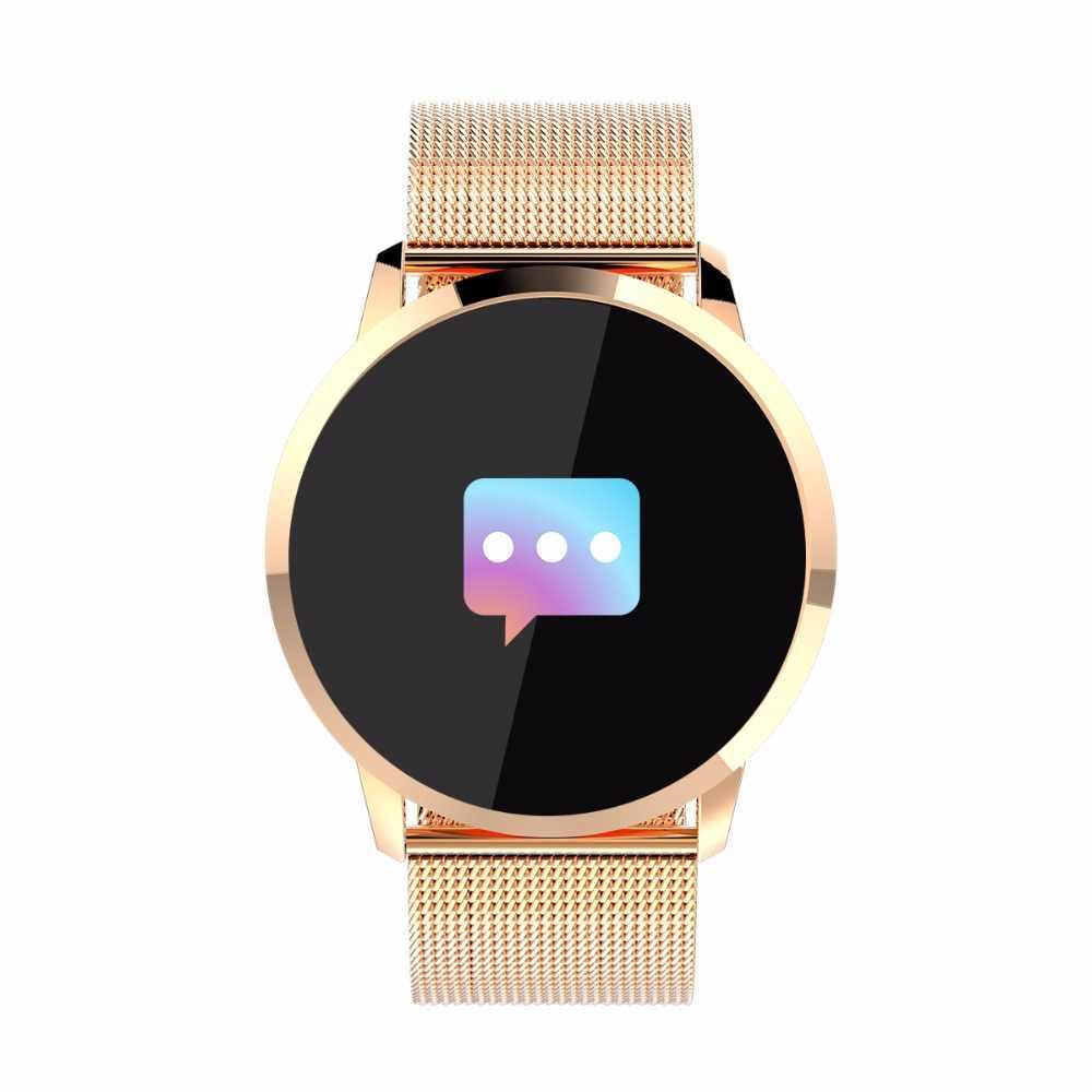 Золото Цвет умные часы с сенсорным экраном Смарт Спорт Фитнес часы Для мужчин Для женщин IP67 Водонепроницаемый Носимых устройств монитор сердечного ритма