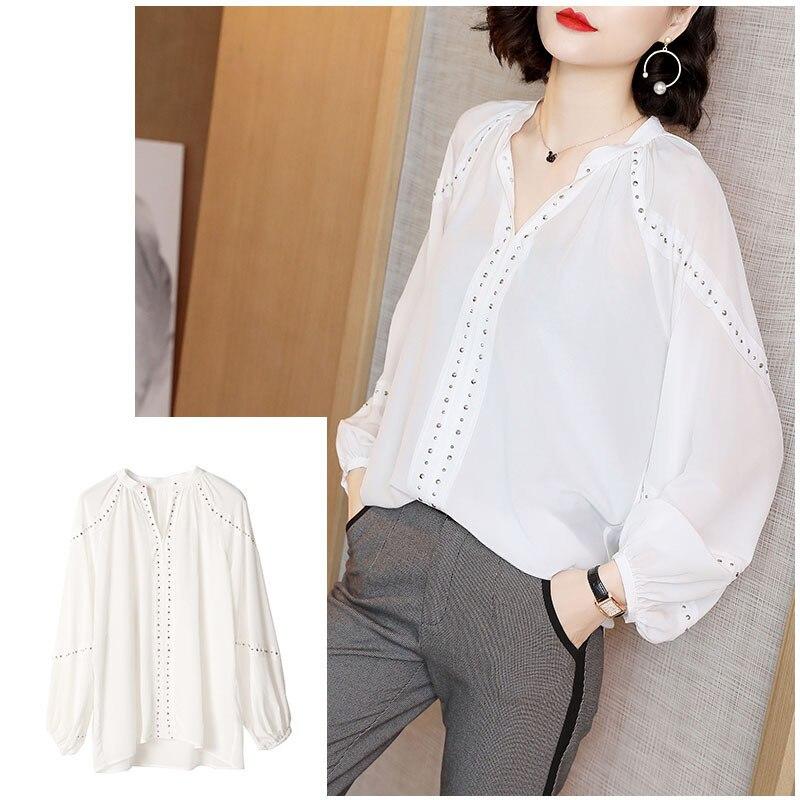 Fácil Manga Nuevo De Tops V Moda Y Seda Temperamento Primavera Camiseta Blusas black Real Camisa Patrón White Larga Mujer 2019 R0ZBxfqww
