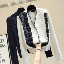 Sweter damski 2020 jesienno zimowy nowy nabytek kwiecisty patchwork z koronką sweter damski z długim rękawem dekolt w serek czarne białe topy