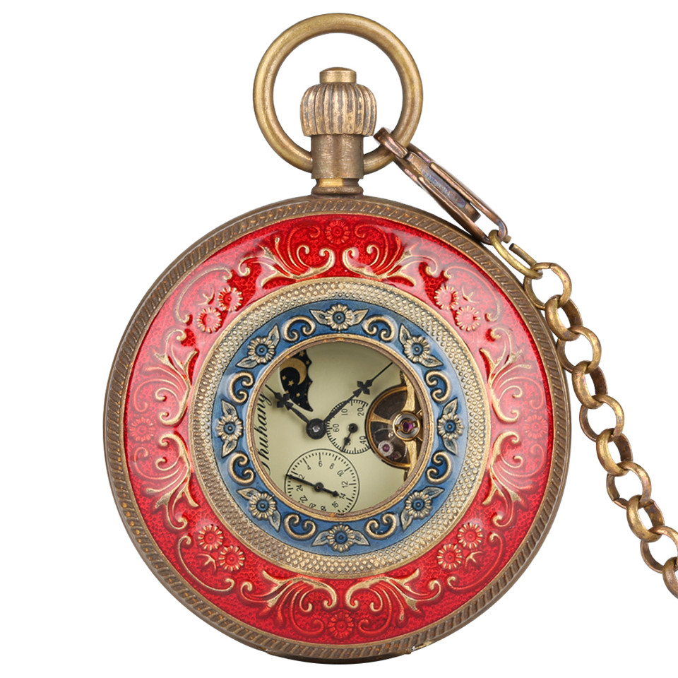 Red Carving Mechanica Hand Wind Pocket Watch Chain Double Open Face Tourbillon Self Wind Watches Men