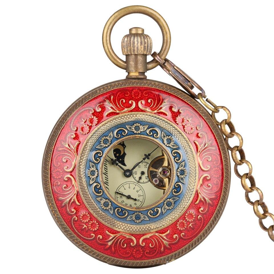 Rouge sculpture automatique mécanique montre de poche chaîne Double Face ouverte Tourbillon auto vent montres hommes 2019 nouveau mâle horloge cadeaux