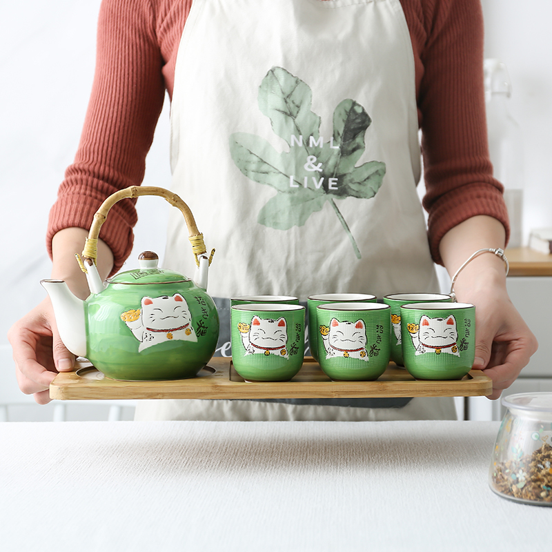 Japanese style ceramics lovely lucky fortune cat teapot set household large capacity afternoon tea pot kettle cup bamboo tray
