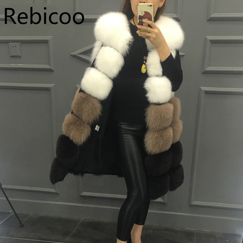 Faux Fur Coat Autumn/Winter New Luxury Faux Fur Ladies Vest Long Thick Contrast Color Sleevele Female Jacket Casaco Feminino