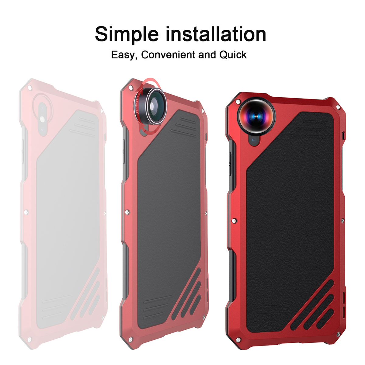 For IPhone Xs Max Xr Phone Case 360 Degree Protect Dustproof Shockproof Anti-scratch Phone Cover With Special Effect Lenses Capa