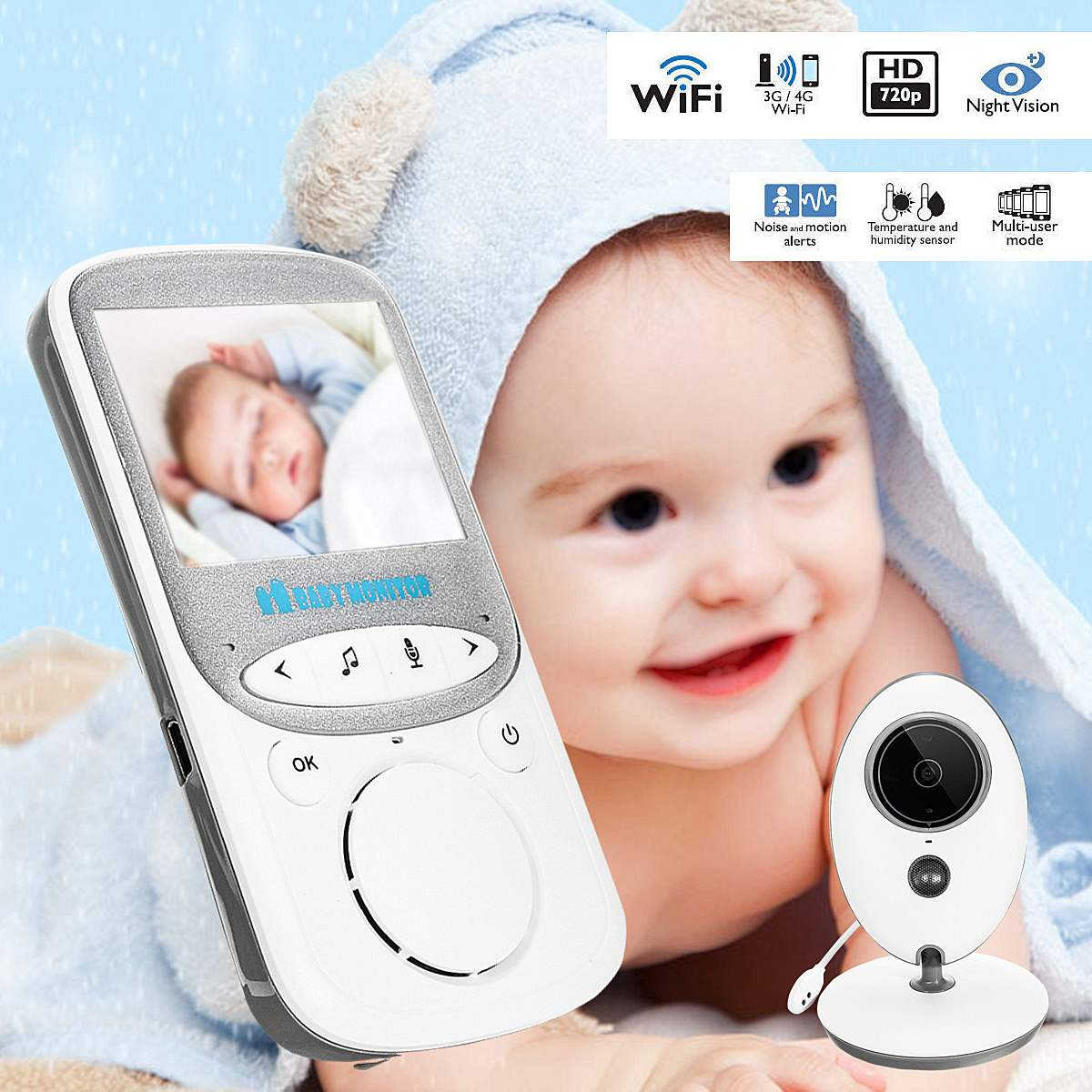 2.4 Inch Wireless Baby Monitor Digital LCD Night Vision Home Audio Video Security Baby Camera Talk Temperature Monitor For Mom
