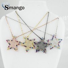 5Pieces, The Rainbow Series Women Fashion Colorful Star Shape CZ Prong Setting Necklace and Connectors,4 Colors,Can Wholesale