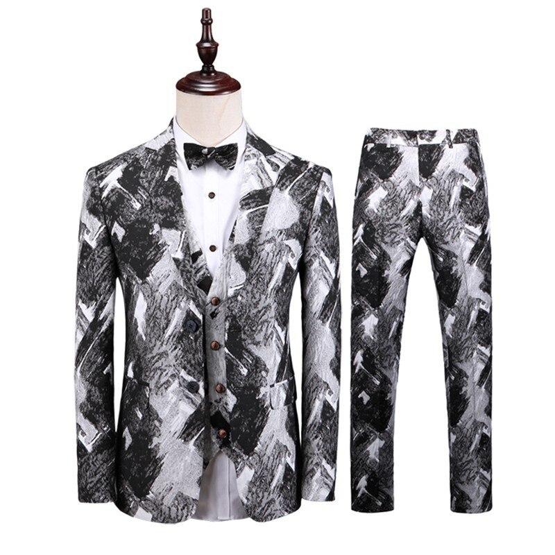 Wedding Dress Suit Men Costume Homme Blazer Men 2019 Mens Floral Suits Mens Business Formal Wear Tuxedo 3PC Men Suit Plus Size