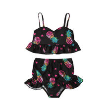 Cute Baby Girl Swimsuits 2019 Pineapple Love Heart Print Swimwear Suits For Kids Girls Boys Two Pieces Sleeveless Bathing Suits(China)