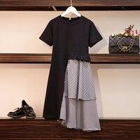XL-5XL плюс размеры для женщин Винтаж платье А-силуэта Лето 2019 элегантный короткий рукав хлопок лоскутное плед рюшами миди платья