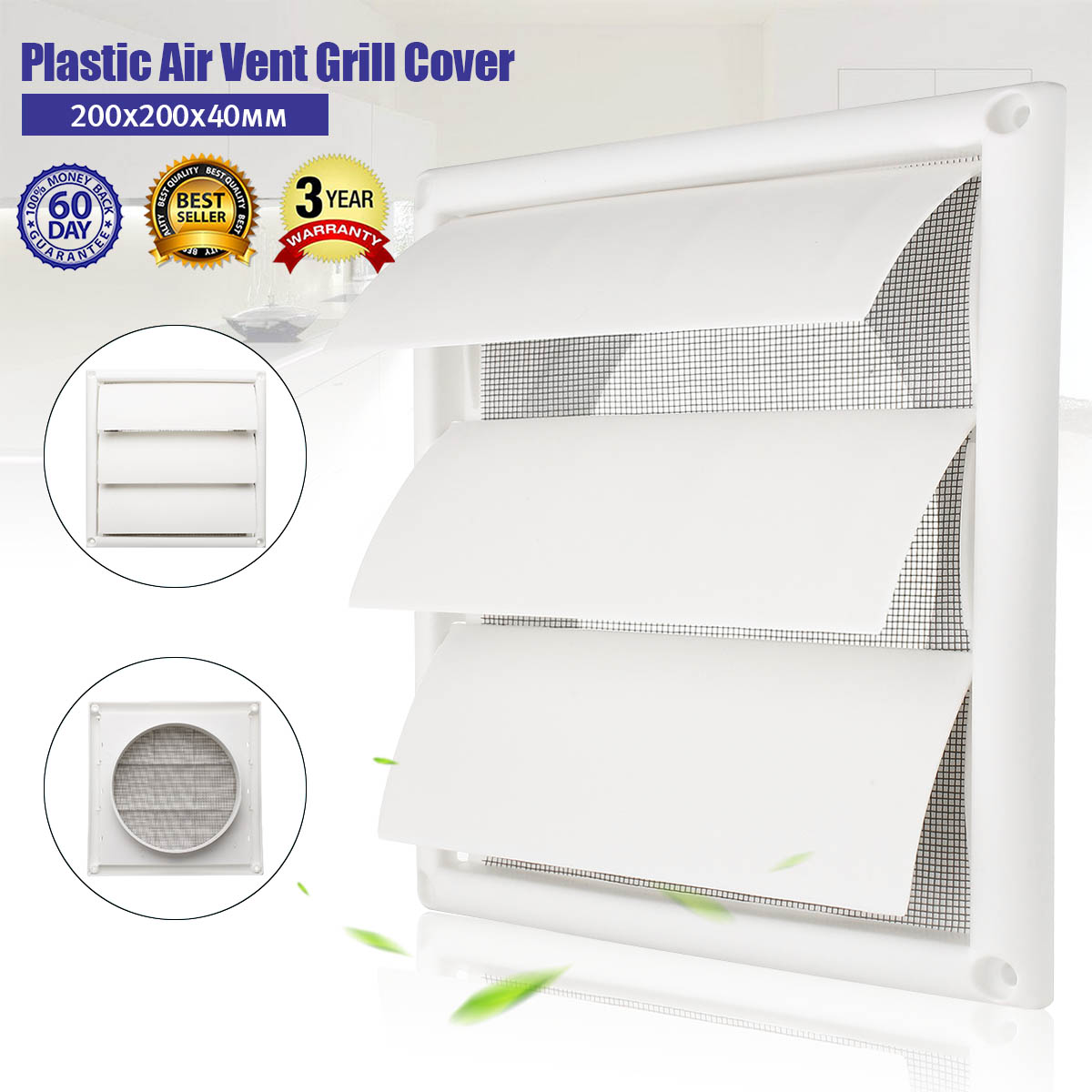 MTGATHER Air Vent Grille Ventilation Cover Plastic White Wall Grilles Duct 200x200x40mm Heating Cooling & Vents Vents