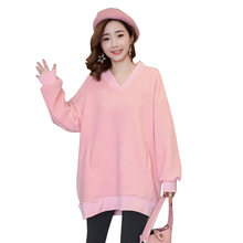 d0fb8138b01 Pengpious pregnant woman winter lambs wool and fleece loose v-neck double  warm fleece jacket