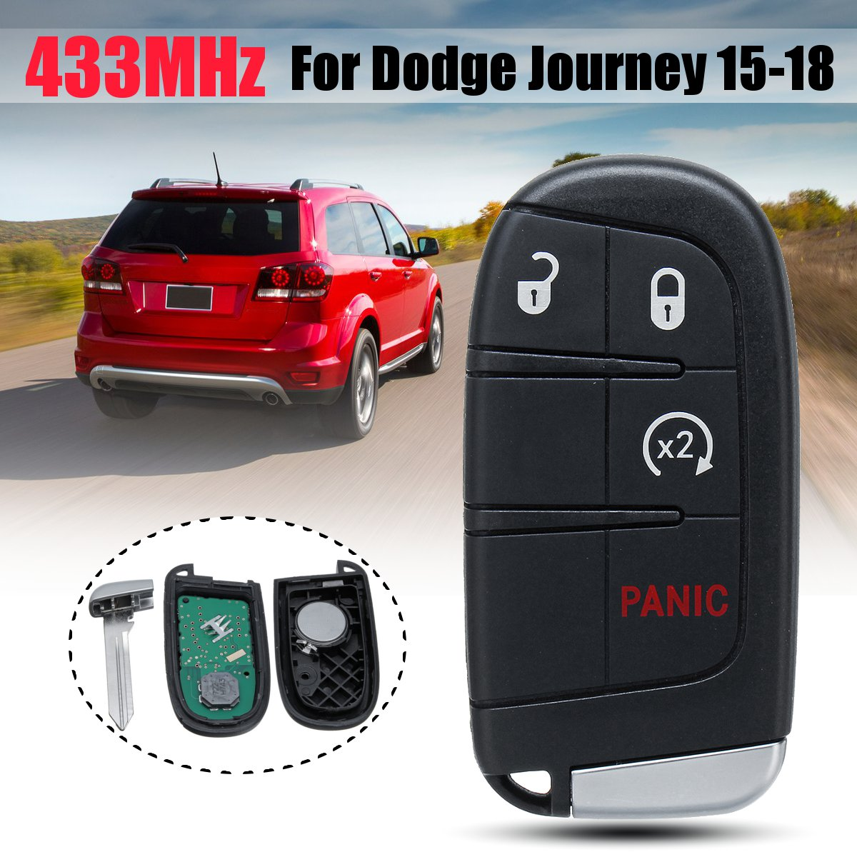 For Dodge Journey 2015 2018 433MHz 4/5 3+1/4+1 Buttons Fob Remote Key with Battery FCC ID: M3N 40821302