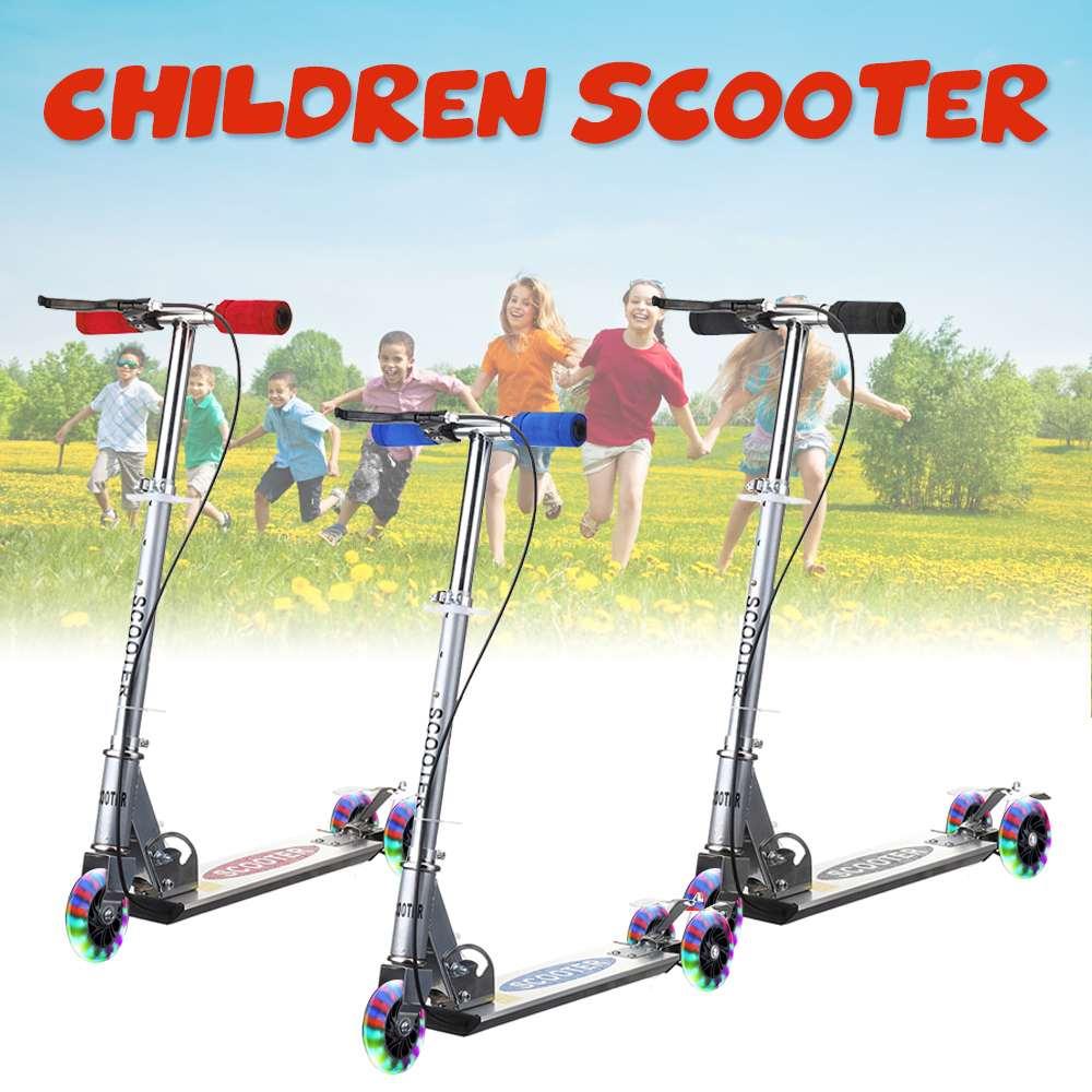 Kick Scooter 3 roda de Liga de Alumínio dobrável Scooter crianças Presentes Brinquedos Luz Intermitente Roda Scooters Pé Ajustável em Altura