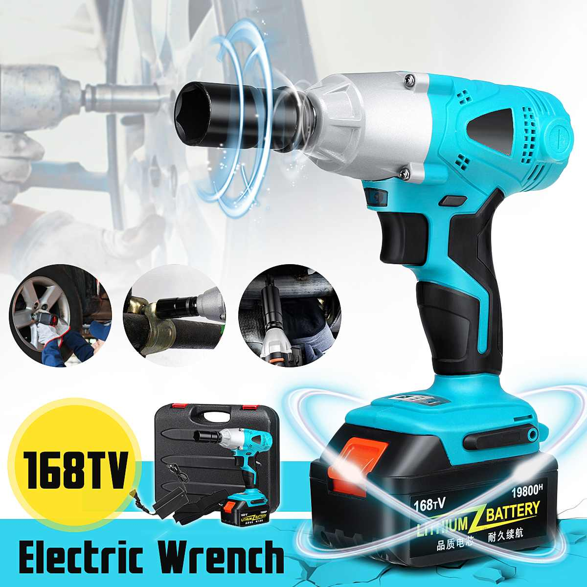 168TV Impact Wrench Drill LED Light 1/2 Socket 19800mAh Li-on Battery Electric Wrench Car Wheel Power Tools168TV Impact Wrench Drill LED Light 1/2 Socket 19800mAh Li-on Battery Electric Wrench Car Wheel Power Tools