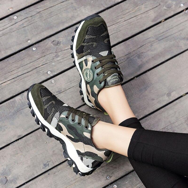 2019 printemps chaussures à lacets en toile chaussures de camouflage vert armée de luxe femmes plate-forme SneakersMilitary chaussure d'entraînement