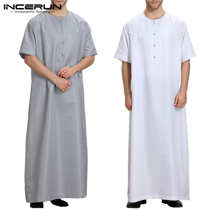 2019 New Muslim Style Mens Robe Kaftan Dress Abaya Arab Clothing Islamic Ropa Arabe Hombre Bathrobe Lounge Gown Masculina Dress