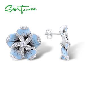 Image 2 - SANTUZZA Silver Stud Earrings For Women 925 Sterling Silver Blue Flower Sparkling Cubic Zirconia Fashion Jewelry Handmade Enamel