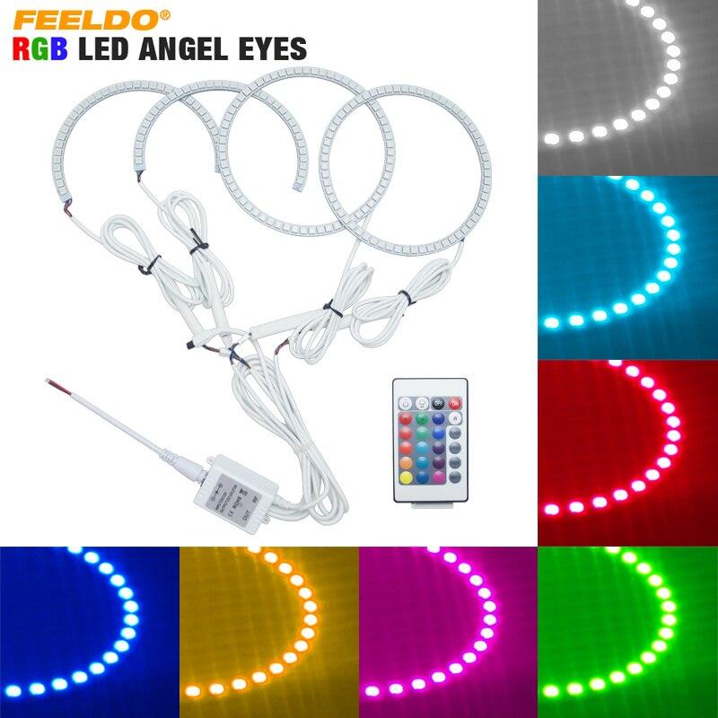 FEELDO 4pcs set Car LED RGB Angel Eyes Halo Ring Light Wireless Remote for Lexus IS200
