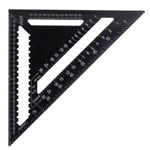 "Image 2 - 30センチメートルアルミセット直角定規12 ""分度器垂木角フレーム測定大工測定木工三角形のルール"