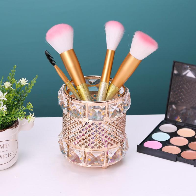 1PCS Europe Metal Crystal Makeup Brush Storage Tube Eyebrow Pencil Cosmetic Organizer Storage Box in Eye Shadow Applicator from Beauty Health