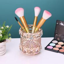 1PCS Europe Metal Crystal Makeup Brush Storage Tube Eyebrow Pencil Cosmetic Organizer Box