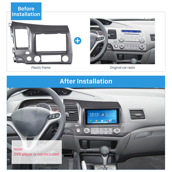 Harfey 2Din Car Radio Fascia Install Trim Kit Cover Dash Stereo Frame Set for Honda Civic LHD 2008 2009 2010 2011 with SRS Hole