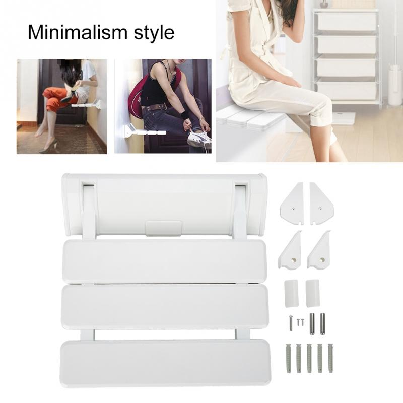 Wall Mounted Drop leaf Shower Seat Foldable Bathroom Bench for Home Sauna Room Use White Massage