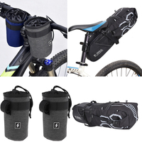 MTB Bike Pack Bicycle Saddle Bag + 2 Bike Front Handlebar Kettle Cover Protectors, Waterproof & Wear Resistant–Cycling Component