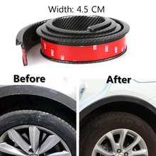 2pcs Car Fender Flare Extension Wheel Eyebrow 4.5cm Widening Rubber Trim Protector Stripe Black Universal
