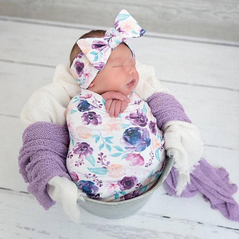 Swaddle Muslin Blanket Newborn Baby Floral Wrap Swaddling Blanket 3Pcs