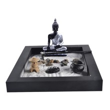 opening promotion-Japanese Karesansui Mini Zen Table Garden with Rack Pebbles and Sand Home Office Decoration -Black, 25cm*20c(China)