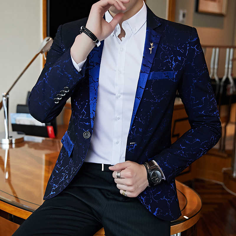Blazer de bal de fête de luxe fil brillant vin rouge bleu noir contraste col robe dîner Blazer Homme coupe ajustée costume manteau veste