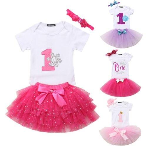 0-12 Mt Baby Mädchen Kinder Erste/zweite Geburtstag Romper Outfits Tutu Rock Stirnband Kleidung Set SorgfäLtige Berechnung Und Strikte Budgetierung