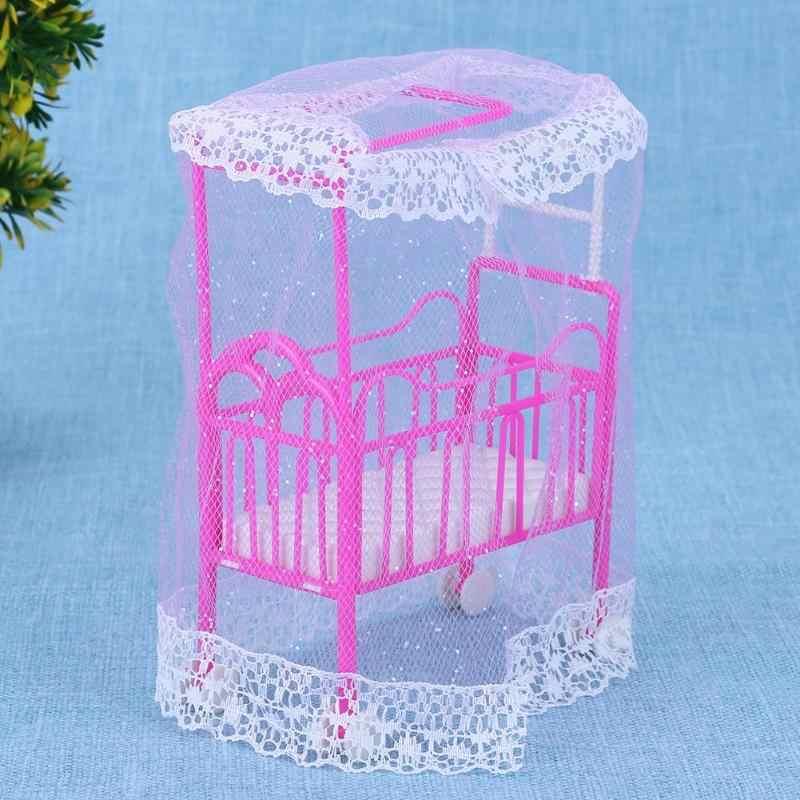 Kunststoff Bett mit Bett Net Puppe Zubehör Niedlich Bett Mädchen Puppenhaus Möbel für Barbie Puppen Baby Spielzeug Geschenk Lustige nette Rosa