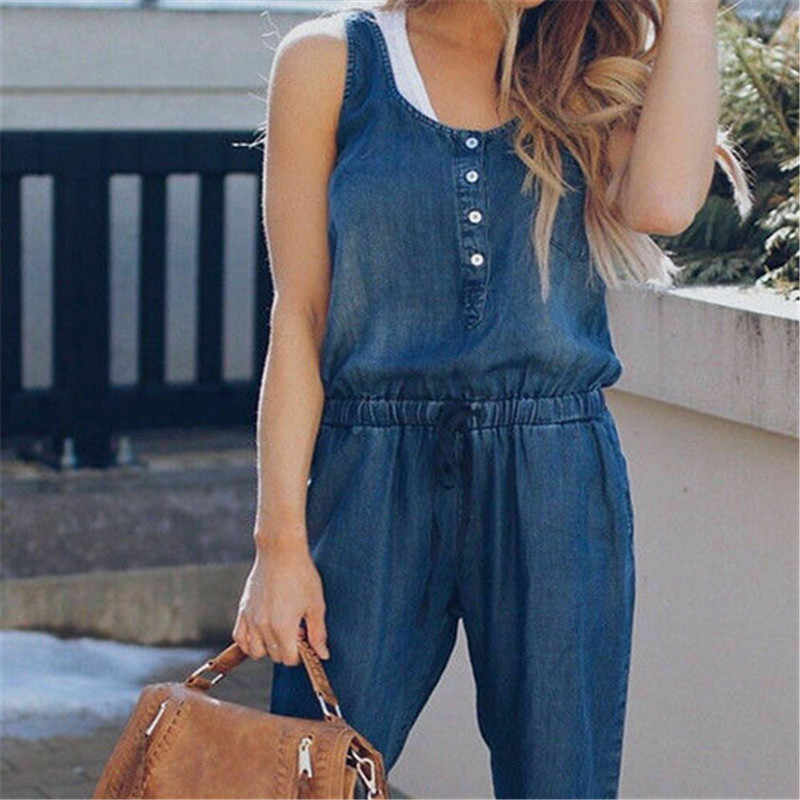 New Fashion Womens Casual Solid Denim Overalls Bib Pants Baggy Jumpsuits Rompers Jeans