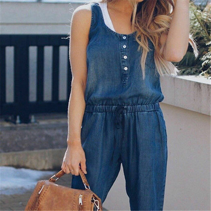 New Fashion Womens Casual Solid Denim Overalls Bib Pants Baggy Jumpsuits Rompers Jeans -1536
