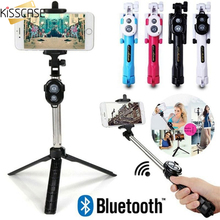 KISSCASE Multifunction Bluetooth Wireless Remote Selfie Stick for iPhone Handheld Shutter Foldable Tripod Monopod Smartphone