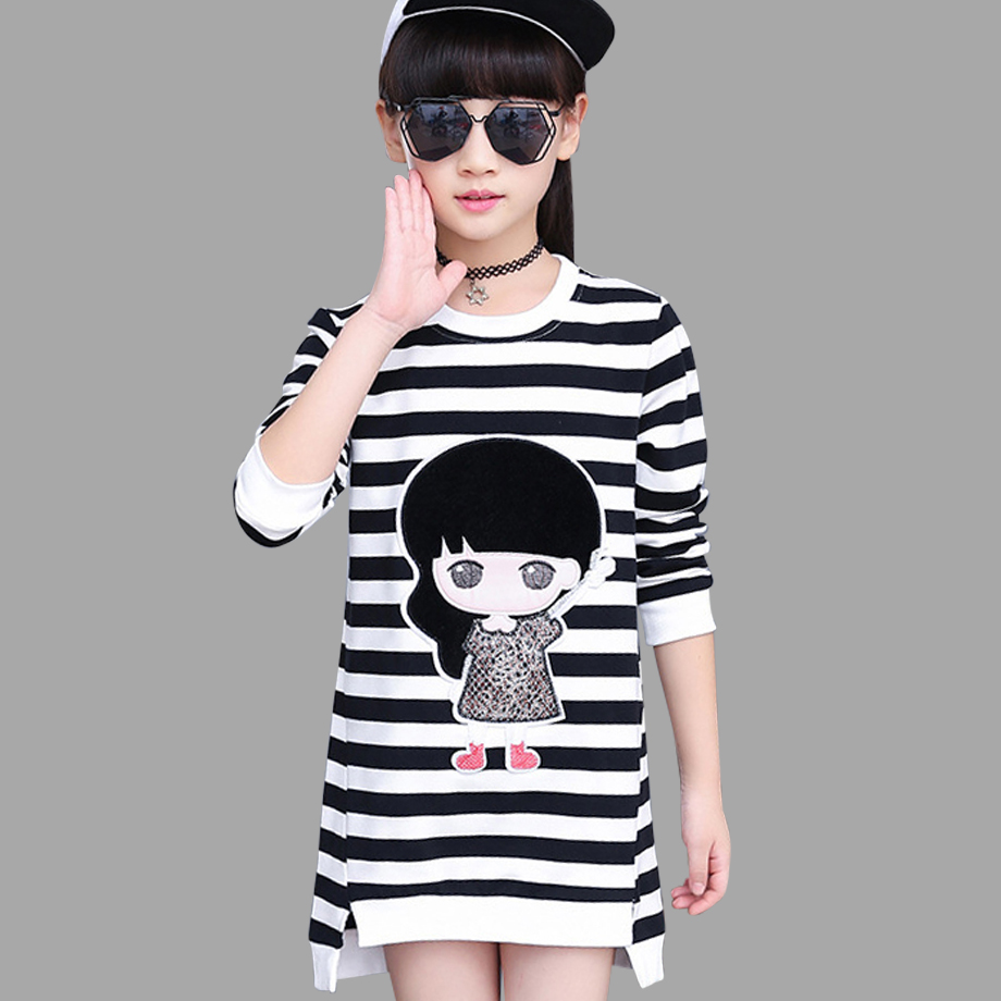 Girls Dress Autumn Spring Cartoon Teenage Dresses For Girls 2018 Striped Kids Dresses For Girls 6 8 10 12 Children Clothes in Dresses from Mother Kids