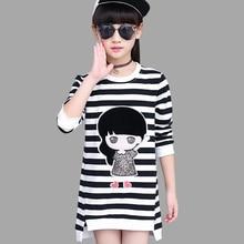 Girls Dress Autumn Spring Cartoon Teenage Dresses For Girls 2018 Striped Kids Dresses For Girls 6 8 10 12 Children Clothes