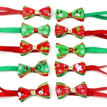 100PCS/Pack Christmas Holiday Pet Cat Dog Collar Bow Tie Adjustable Neck Strap Grooming Accessories Supplies